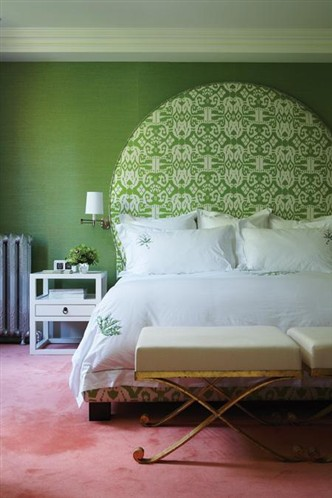 Green Circle Ikat Headboard