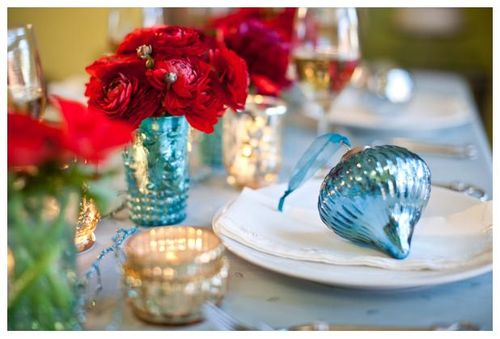 Red & Turquoise Holiday Decor